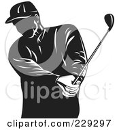 Royalty Free RF Clipart Illustration Of A Retro Black And White Golfer Swinging