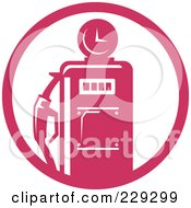 Royalty Free RF Clipart Illustration Of A Retro Pink Gas Pump Logo