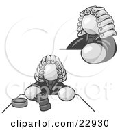 Clipart Illustration Of A White Judge Man Wearing A Wig In Court