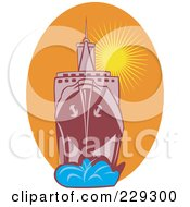Royalty Free RF Clipart Illustration Of A Large Battleship Against A Sunset by patrimonio