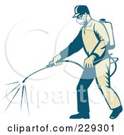 Royalty Free RF Clipart Illustration Of A Retro Exterminator Spraying by patrimonio