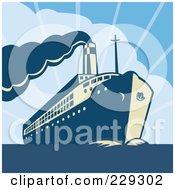 Retro Cruiseliner Ship At Sea