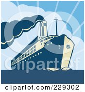 Royalty Free RF Clipart Illustration Of A Retro Cruiseliner Ship At Sea