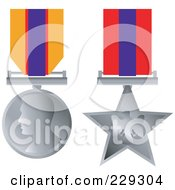 Royalty Free RF Clipart Illustration Of A Digital Collage Of Two Silver Award Medals
