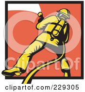 Royalty Free RF Clipart Illustration Of A Retro Fireman And Hose Logo 2