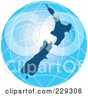 Royalty Free RF Clipart Illustration Of A Gradient Blue New Zealand Globe by patrimonio