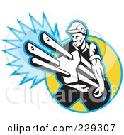 Royalty Free RF Clipart Illustration Of A Retro Electrician Carrying A Giant Plug