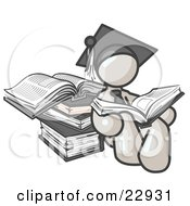 Clipart Illustration Of A White Male Student In A Graduation Cap Reading A Book And Leaning Against A Stack Of Books by Leo Blanchette