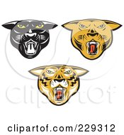 Royalty Free RF Clipart Illustration Of A Digital Collage Of Big Cat Heads by patrimonio