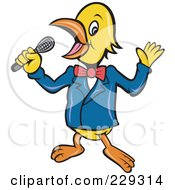 Royalty Free RF Clipart Illustration Of A Singing Or Host Bird