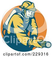 Royalty Free RF Clipart Illustration Of A Retro Fireman And Hose Logo 1