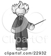 Clipart Illustration Of A White Man Depicted As Albert Einstein Holding A Pointer Stick by Leo Blanchette