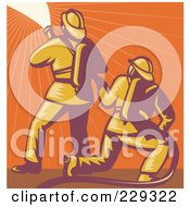 Royalty Free RF Clipart Illustration Of A Retro Fireman And Hose Logo 3