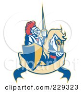 Royalty Free RF Clipart Illustration Of A Retro Knight And Steed Banner Logo
