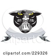 Royalty Free RF Clipart Illustration Of A Retro Panther Head Over A Blank Banner by patrimonio