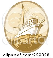 Royalty Free RF Clipart Illustration Of A Retro Fishing Boat At Sea Logo by patrimonio