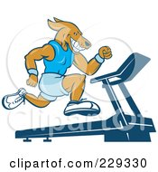 Royalty Free RF Clipart Illustration Of A Dog Running On A Treadmill by patrimonio