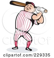 Royalty Free RF Clipart Illustration Of A Baseball Man Swinging A Bat by patrimonio