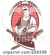 Royalty Free RF Clipart Illustration Of A Red Retro Styled Butcher by patrimonio #COLLC229338-0113