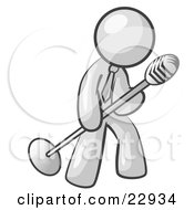 Clipart Illustration Of A White Man In A Tie Singing Songs On Stage During A Concert Or At A Karaoke Bar While Tipping The Microphone by Leo Blanchette