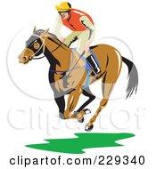 Royalty Free RF Clipart Illustration Of A Jockey On A Running Horse