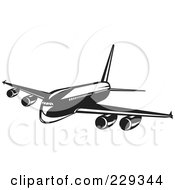 Royalty Free RF Clipart Illustration Of A Retro Black And White Airliner