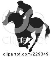 Royalty Free RF Clipart Illustration Of A Silhouetted Jockey On A Running Horse