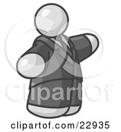 Clipart Illustration Of A Big White Business Man In A Suit And Tie by Leo Blanchette