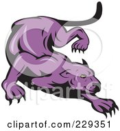 Royalty Free RF Clipart Illustration Of A Stalking Purple Panther