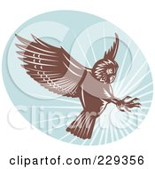Royalty Free RF Clipart Illustration Of A Retro Swooping Owl Logo by patrimonio