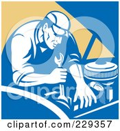 Royalty Free RF Clipart Illustration Of A Retro Mechanic Working On An Engine