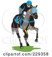Royalty Free RF Clipart Illustration Of A Jockey On A Horse