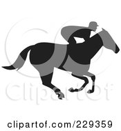 Royalty Free RF Clipart Illustration Of A Profile View Of A Jockey Racing A Horse