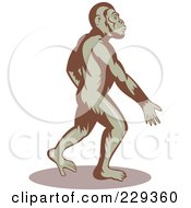 Royalty Free RF Clipart Illustration Of An Ape Walking And Swinging His Arms