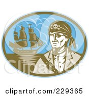 Royalty Free RF Clipart Illustration Of A Retro Pirate And Ship Logo by patrimonio