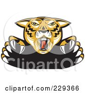 Royalty Free RF Clipart Illustration Of An Attacking Tiger by patrimonio