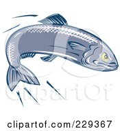 Royalty Free RF Clipart Illustration Of A Retro Swimming Sardine