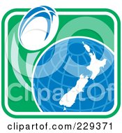 Royalty Free RF Clipart Illustration Of A Rugby Ball Flying Around A New Zealand Globe