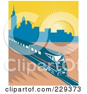 Royalty Free RF Clipart Illustration Of An Electric City Train 1