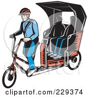 Royalty Free RF Clipart Illustration Of People Riding On A Retro Rickshaw by patrimonio