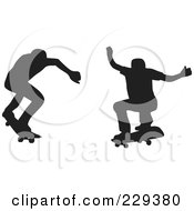 Digital Collage Of Two Silhouetted Skateboarders 2