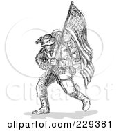 Royalty Free RF Clipart Illustration Of A Black Sketched Soldier Carrying An American Flag by patrimonio