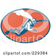 Royalty Free RF Clipart Illustration Of A Retro Scuba Diver Logo 2 by patrimonio