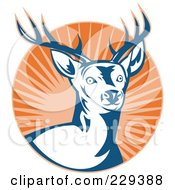Royalty Free RF Clipart Illustration Of A Deer Stag And Burst Logo