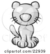 Clipart Illustration Of A Cute White Kitty Cat Looking Curiously At The Viewer