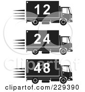 Royalty Free RF Clipart Illustration Of A Digital Collage Of Black And White Numbered Delivery Trucks