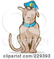 Royalty Free RF Clipart Illustration Of A Sitting Police Dog by patrimonio