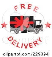 Royalty Free RF Clipart Illustration Of A Free Delivery Logo 2