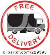Royalty Free RF Clipart Illustration Of A Free Delivery Logo 3