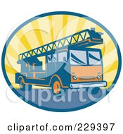 Royalty Free RF Clipart Illustration Of A Retro Fire Engine Logo by patrimonio